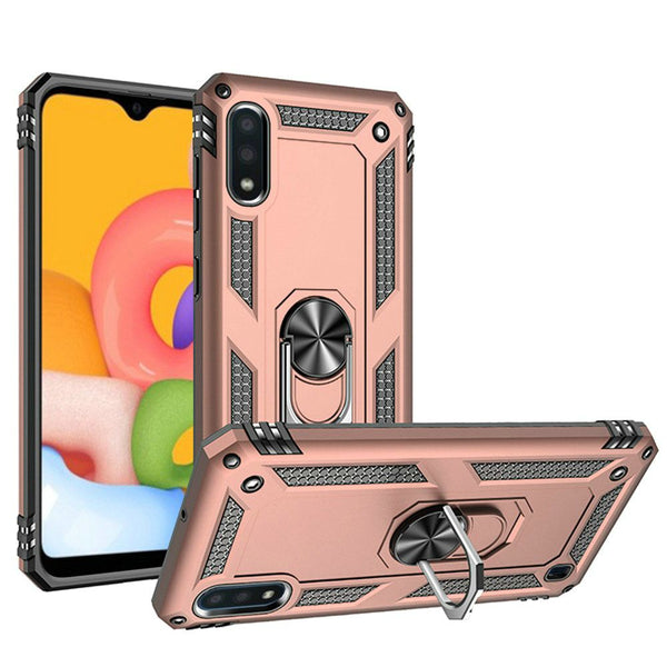 Samsung A01 Ring Magnetic Kickstand Hybrid Case Cover - Rose Gold