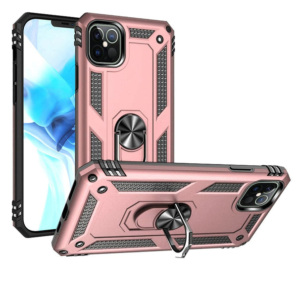 iPhone 12/Pro (6.1 Only) Ring Magnetic Kickstand Hybrid Case Cover - Rose Gold