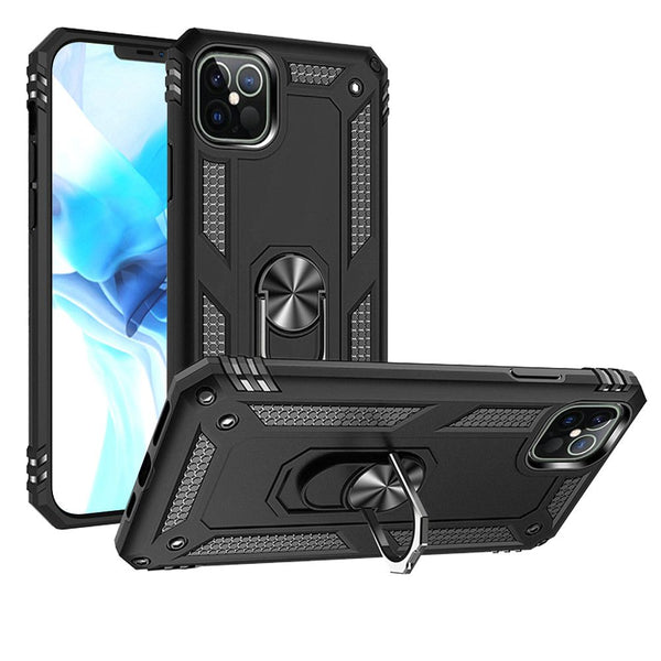 iPhone 12 Pro Max 6.7 Ring Magnetic Kickstand Hybrid Case Cover - Black