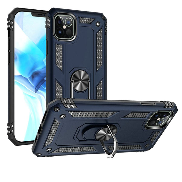 iPhone 12 Pro Max 6.7 Ring Magnetic Kickstand Hybrid Case Cover - Blue