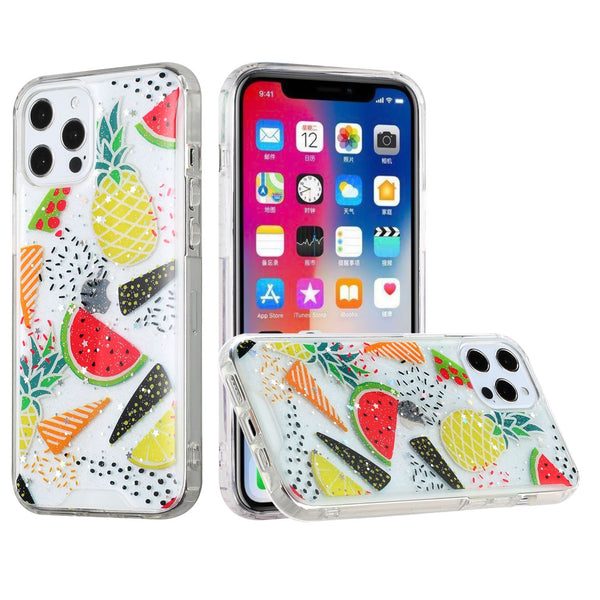 iPhone 12 Pro Max 6.7 Vogue Epoxy Glitter Hybrid Case Cover - Pineapple Watermelon