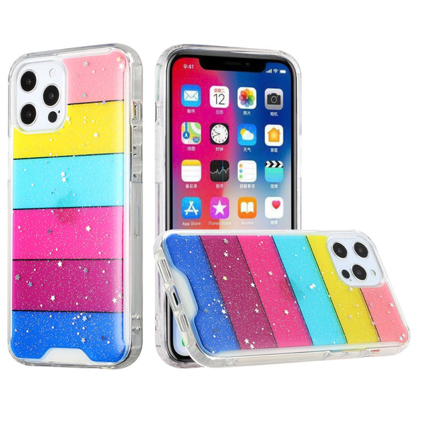 iPhone 12 Pro Max 6.7 Vogue Epoxy Glitter Hybrid Case Cover - Stripes