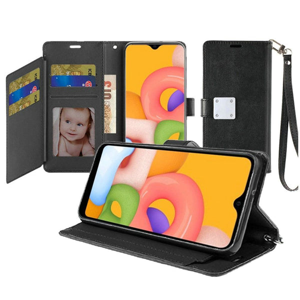 Samsung A01 Wallet ID Card Holder Case Cover - Black