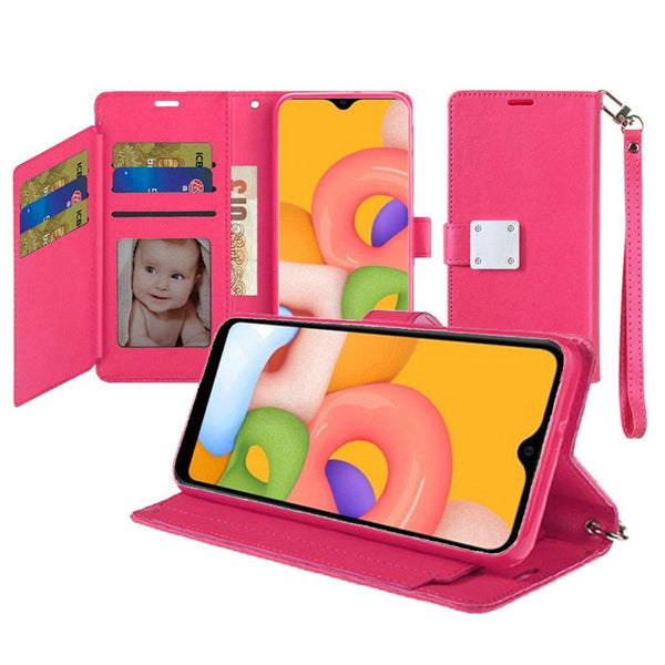 Samsung A01 Wallet ID Card Holder Case Cover - Hot Pink
