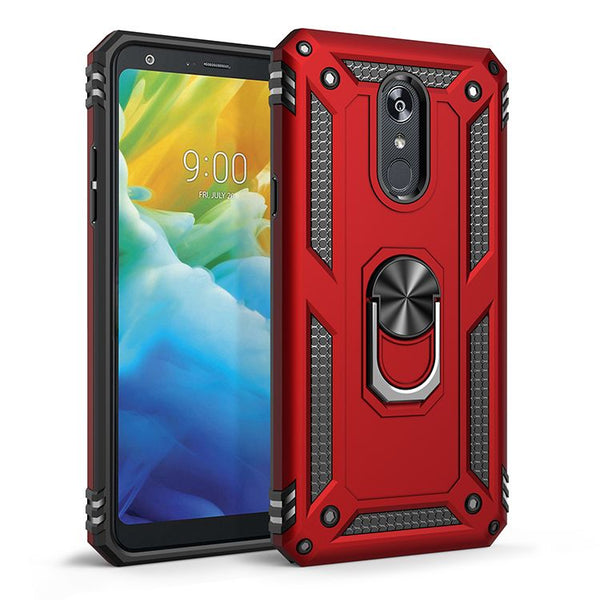 LG Stylo 5 Magnetic Ring Slim Shockproof PC TPU Hybrid - Red