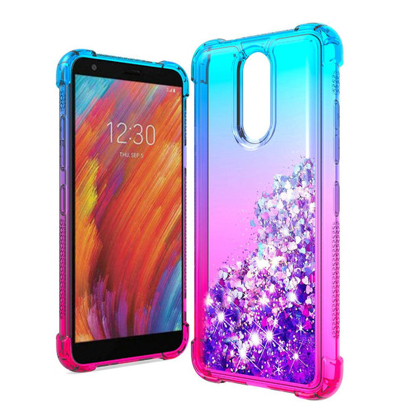LG Aristo 4 Plus, Escape Plus, Tribute Royal Liquid Glitter Quicksand Two Tone Shock Proof TPU TPU - Blue+Hot Pink