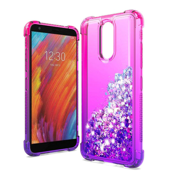 LG Aristo 4 Plus, Escape Plus, Tribute Royal Liquid Glitter Quicksand Two Tone Shock Proof TPU TPU - Hot Pink+Purple