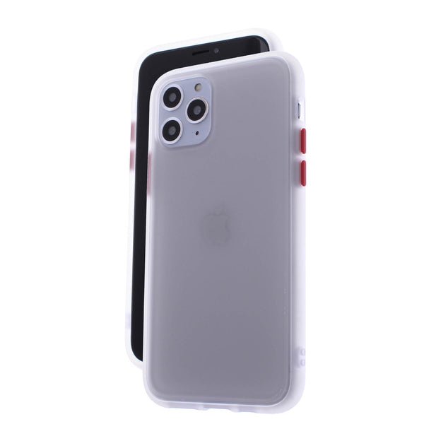 White TPU Frame Red Button Soft Texture iPhone 11 Pro Max
