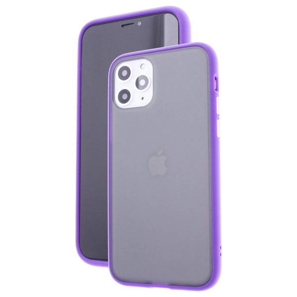 Purple TPU Frame White Button Soft Texture iPhone 11 Pro Max