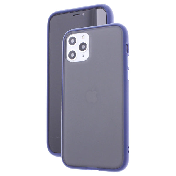 Blue TPU Frame White Button Soft Texture iPhone 11 Pro