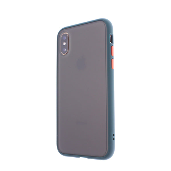 Green TPU Frame Orange Button Soft Texture iPhone X/XS