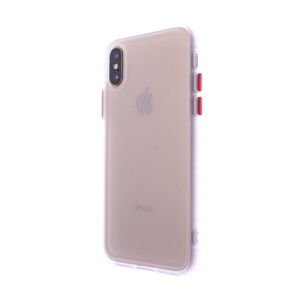 White TPU Frame Red Button Soft Texture iPhone XS MAX