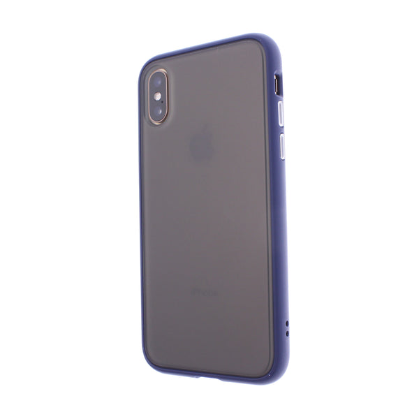 Blue TPU Frame White Button Soft Texture iPhone X/XS