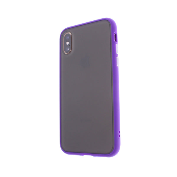 Purple TPU Frame White Button Soft Texture iPhone XS MAX