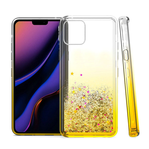 Gold iPhone 11 PRO Liquid Quicksand with Glitter TPU