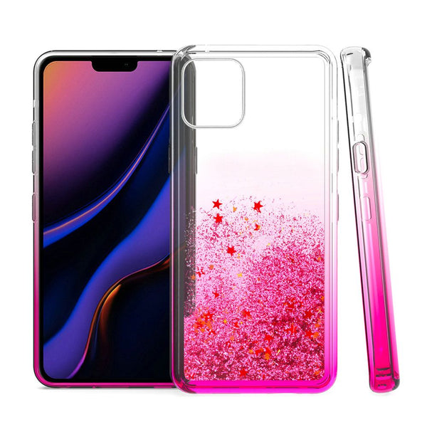 Hot pink iPhone 11 PRO Liquid Quicksand with Glitter TPU