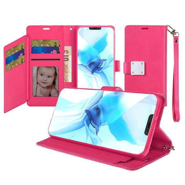 iPhone 12 Pro Max 6.7 Wallet ID Card Holder Case Cover - Hot Pink