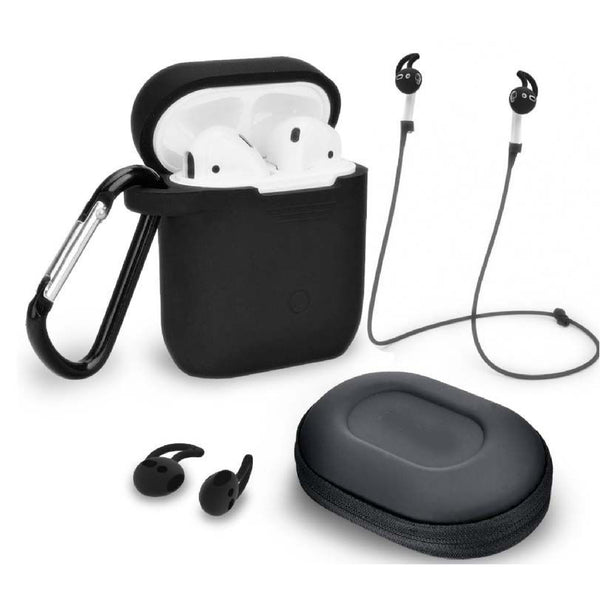 Black 5 In 1 AirPods Protective Case set