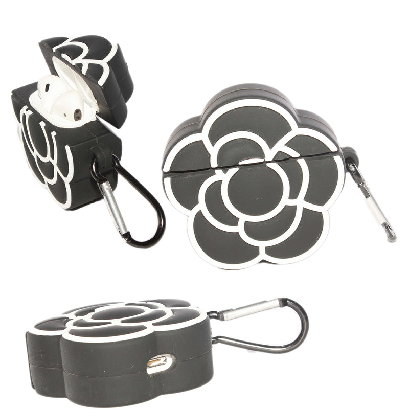 Air Pod 3D Silicone Case  Black Flower