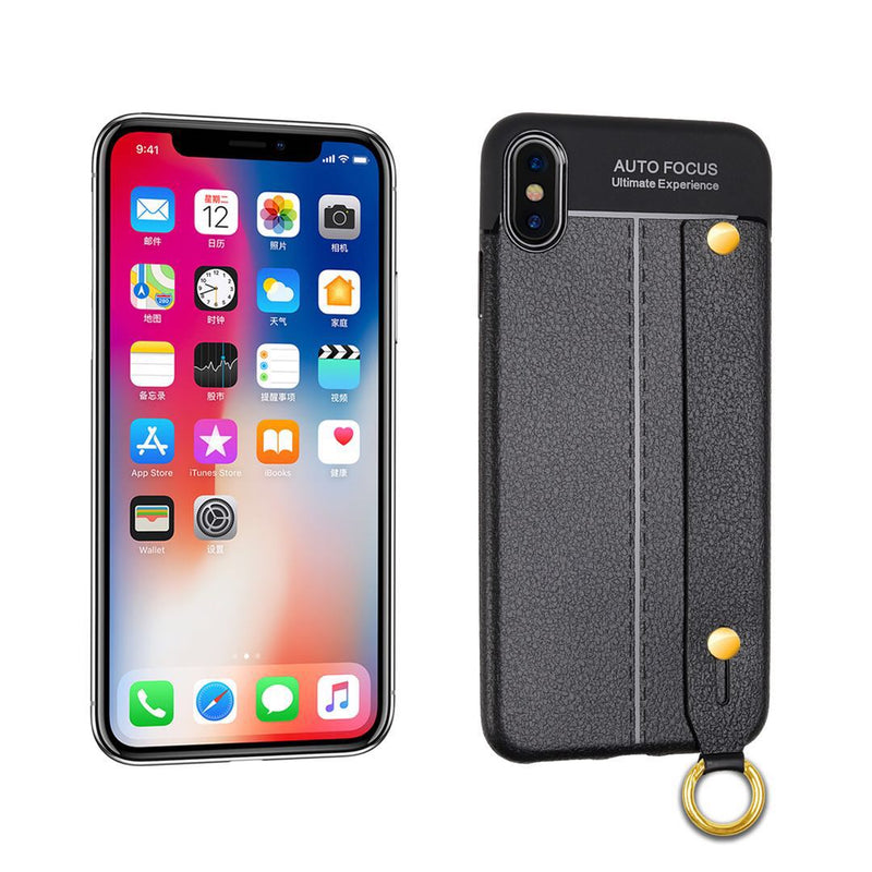 iPhone XR Leather TPU With Strap Holder and Ring Black