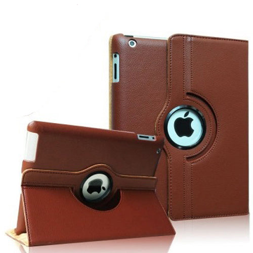 "Brown iPad Air 1 / Air 2 / Pro 9.7"" / iPad 9.7"" (2017/2018) PU Leather Folio Folding 360 Case With Rubber Touch Pen Holder"