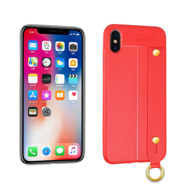 iPhone X/XS Leather TPU With Strap Holder and Ring Red