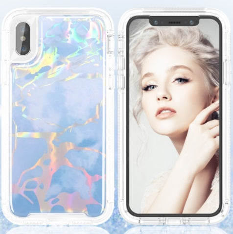 iPhone XR Heavy Duty Marble Case Blue