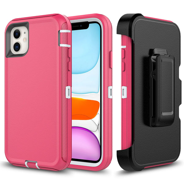 Pink White iPhone 11 Pro MAX Heavy Duty Case