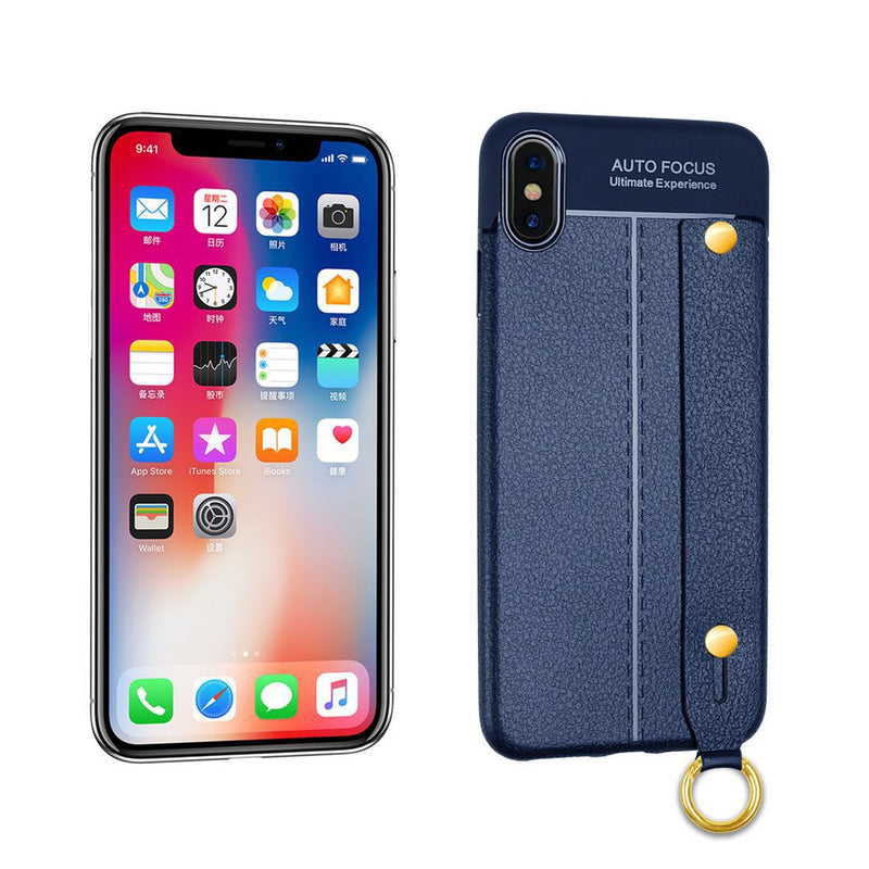 iPhone XS MAX Leather TPU With Strap Holder and Ring Navy Blue