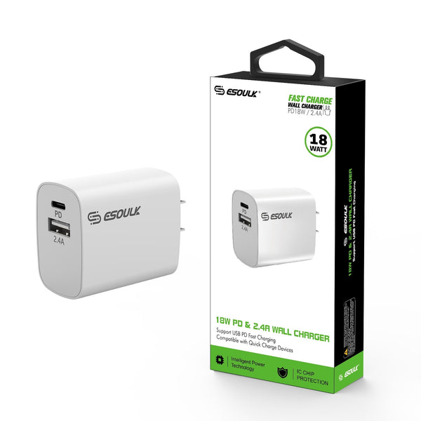18W PD & USB-A Wall Adapter White