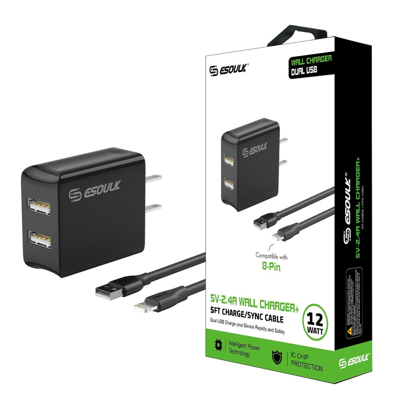 Black Esoulk 12W 2.4A Dual USB Travel Wall Charger With 5FT Charging Cable For IPhone