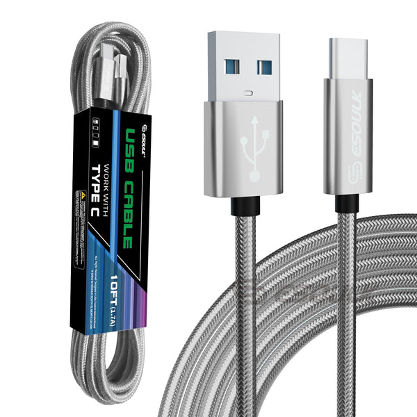 Esoulk 10FT USB Cable For Type-C 1.7A-Silver
