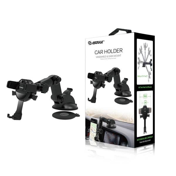 Esoulk One Touch Dashboard Windshield Car Mount Phone Holder-Black