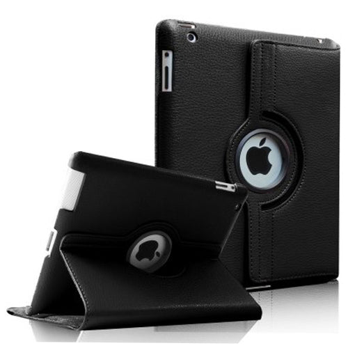 "Black iPad Air 1 / Air 2 / Pro 9.7"" / iPad 9.7"" (2017/2018) PU Leather Folio Folding 360 Case With Rubber Touch Pen Holder"