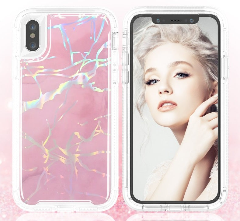 iPhone XR Heavy Duty Marble Case Pink