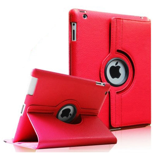 "Red iPad Air 1 / Air 2 / Pro 9.7"" / iPad 9.7"" (2017/2018) PU Leather Folio Folding 360 Case With Rubber Touch Pen Holder"