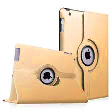 "Gold iPad Air 1 / Air 2 / Pro 9.7"" / iPad 9.7"" (2017/2018) PU Leather Folio Folding 360 Case With Rubber Touch Pen Holder"