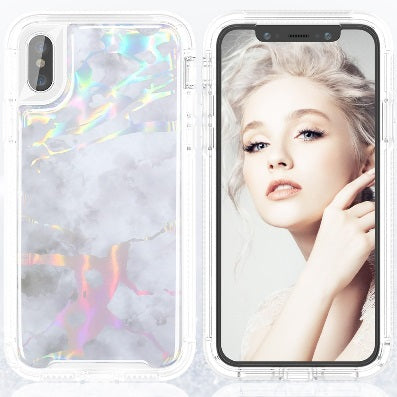 silver iPhone X / XS Heavy Duty Marble Case