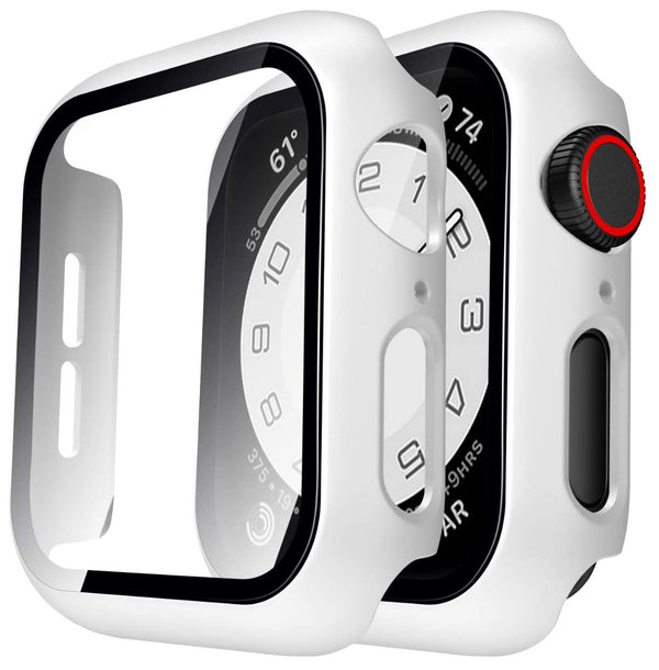 44mm Bumper case White for apple watch with tempered glass built in