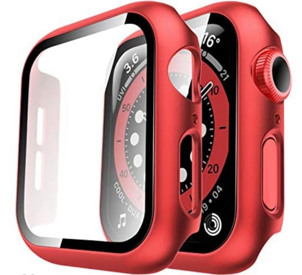 44mm Bumper case Red for apple watch with tempered glass built in