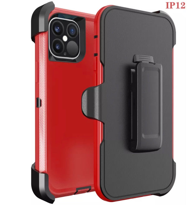 iPhone 12 PRO MAX 6.7 Heavy Duty Case Red Black
