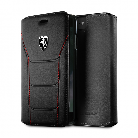 Ferrari  iPhone 8/7 Genuine Quilted Leather Heritage Wallet Black