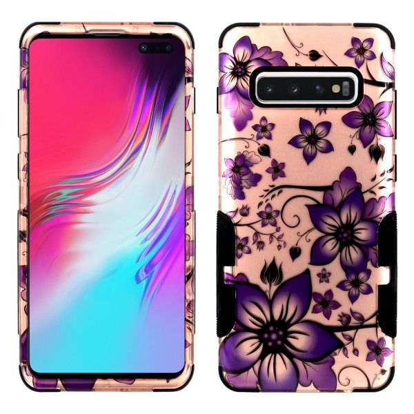 Galaxy S10 Plus Aries Design Purple Floral Rose Gold
