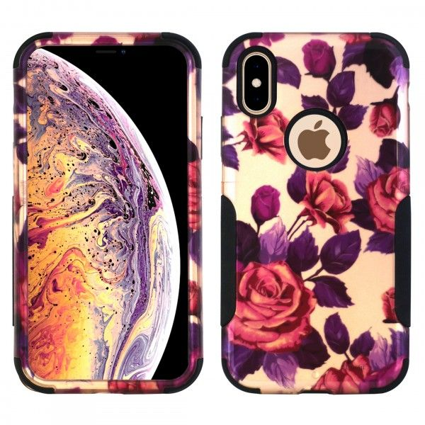 iPhone XS MAX Aries Design Roses Leaf Black