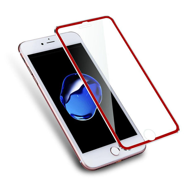 iPhone 8/7 Tempered Glass Metal Frame Red