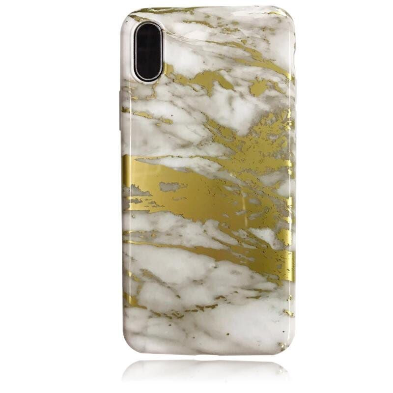 iPhone X/XS Marble Case Gold White Shiny Finish 3D Print