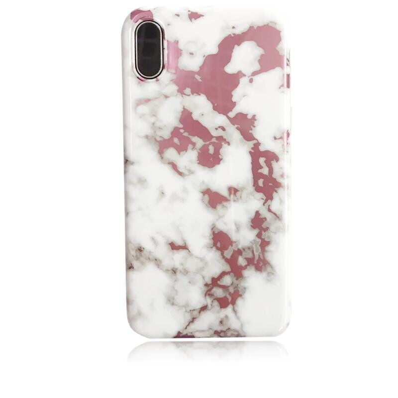 iPhone X/XS Marble Case Rose Gold White Shiny Finish 3D Print
