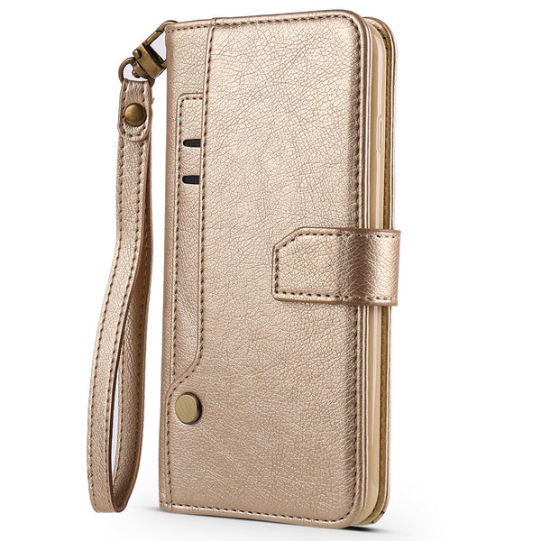 iPhone X/XS Multi Card Wallet Gold with Strap