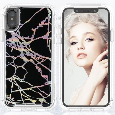 Black iPhone X/XS Heavy Duty Marble Case