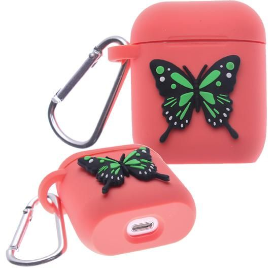 Red Butterfly Air Pod Silicone Case 2D Design